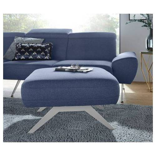 DOMO collection zithocker Cabarini met aluminiumkleurige boemerang-poten  - 339.99 - blauw - Size: fijne structuurstof