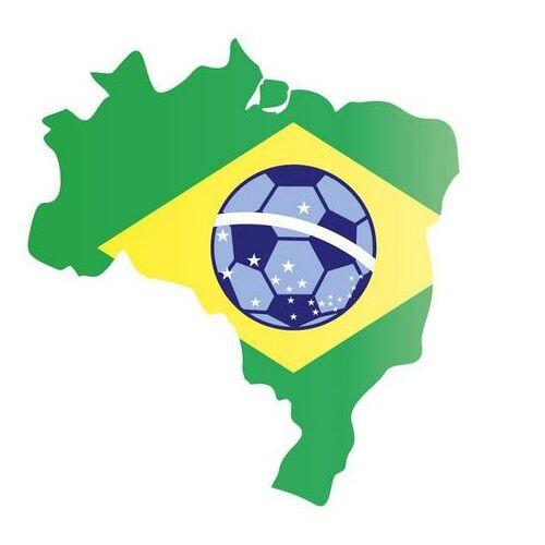 ART Wall-Art wandfolie Brazilië kaart met voetbal (1 stuk)  - 37.99 - multicolor