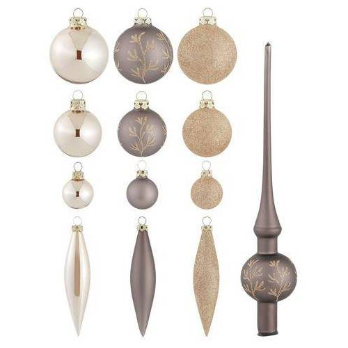 Thüringer Glasdesign kerstbal Rank, coffee met kerstboomtop (set, 51 stuks)  - 39.99 - bruin