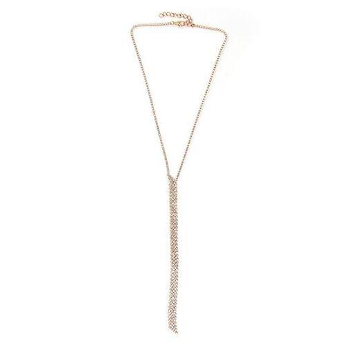J.Jayz ketting met hanger Y-model, glamoureus, elegant met strassteentjes  - 17.94 - goud