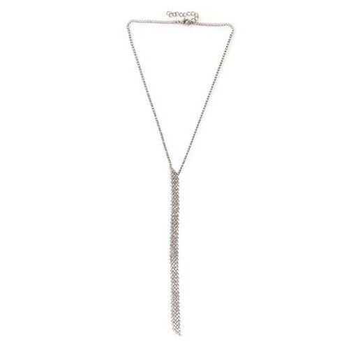 J.Jayz ketting met hanger Y-model, glamoureus met strassteentjes  - 17.49 - zilver
