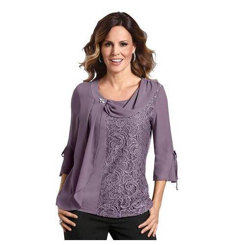 Lady shirt met decoratieve kant  - 61.99 - roze - Size: 50;52
