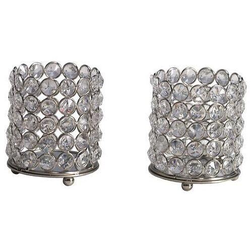 HOME AFFAIRE Kristallen kaarsenstandaard »Lucy«, set van 2  - 37.99 - zilver