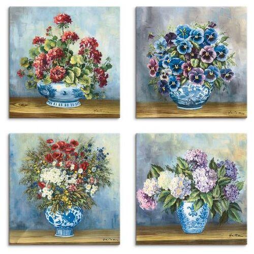 Artland artprint op linnen Bloemen boeketten (4 stuks)  - 48.99 - blauw