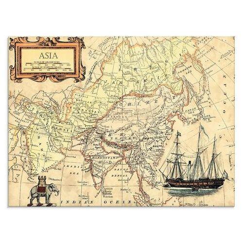 Artland print op glas Kaart van Azië (1 stuk)  - 77.99 - beige