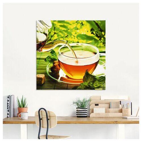 Artland print op glas Afgieten van een gezondheidsthee (1 stuk)  - 33.99 - groen