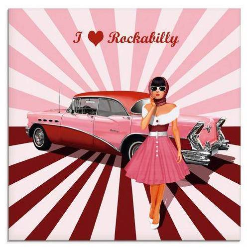 Artland print op glas Ik hou van rockabilly (1 stuk)  - 42.99 - roze
