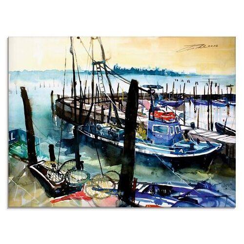 Artland print op glas Venetië, Vissersboten in Burano (1 stuk)  - 142.99 - blauw