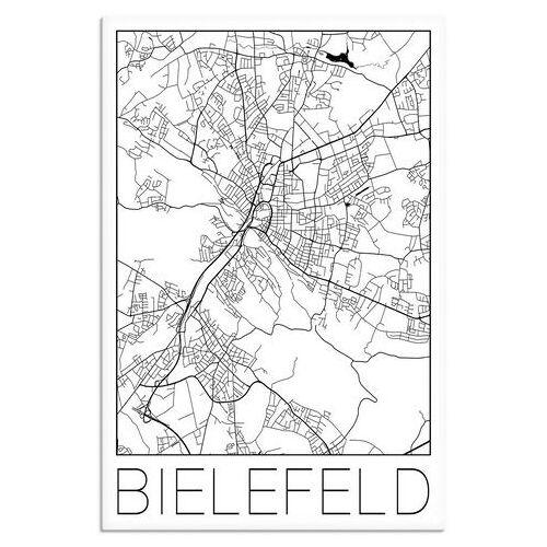 Artland artprint Retro kaart Bielefeld Duitsland in vele afmetingen & productsoorten - artprint van aluminium / artprint voor buiten, artprint op linnen, poster, muursticker / wandfolie ook geschikt voor de badkamer (1 stuk)  - 59.99 - zwart