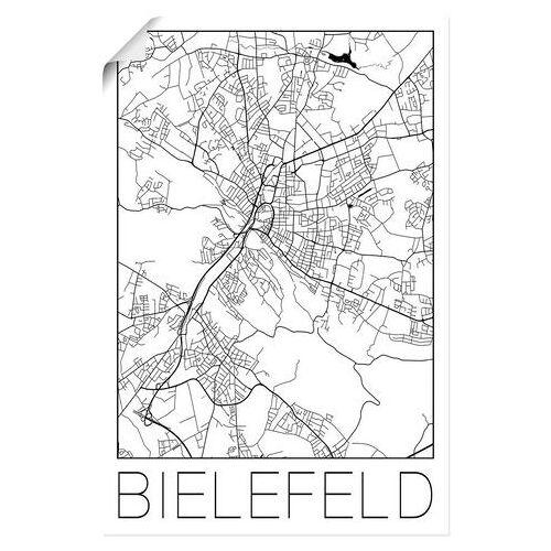Artland artprint Retro kaart Bielefeld Duitsland in vele afmetingen & productsoorten - artprint van aluminium / artprint voor buiten, artprint op linnen, poster, muursticker / wandfolie ook geschikt voor de badkamer (1 stuk)  - 41.99 - zwart