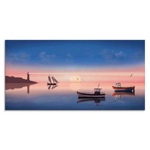 Artland print op glas Vissersboten (1 stuk)  - 151.99 - blauw