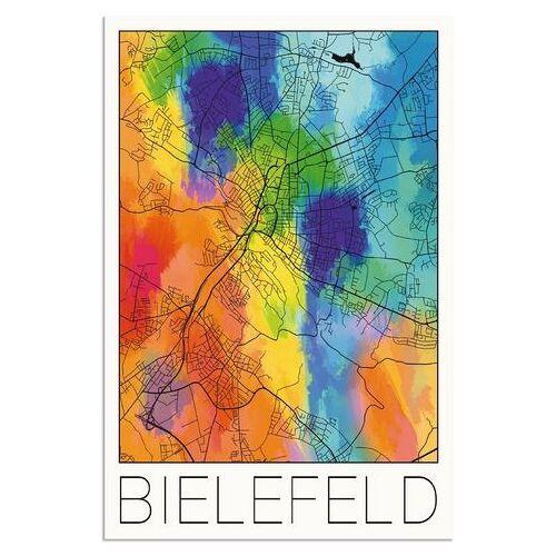 Artland artprint Retro kaart Bielefeld aquarel in vele afmetingen & productsoorten - artprint van aluminium / artprint voor buiten, artprint op linnen, poster, muursticker / wandfolie ook geschikt voor de badkamer (1 stuk)  - 54.99 - multicolor