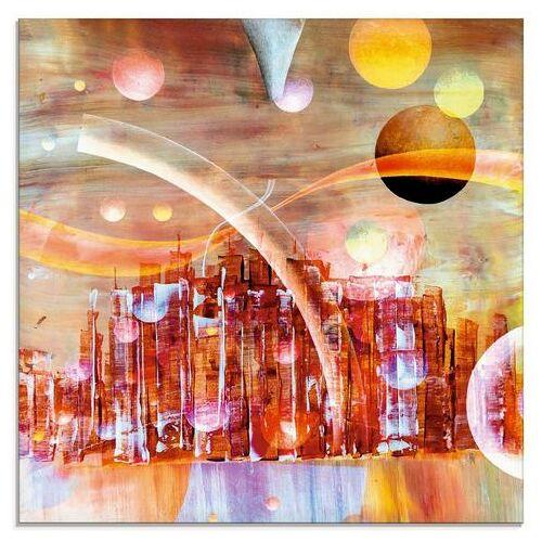 Artland print op glas »Weltraumstadt 3000«  - 42.99 - rood