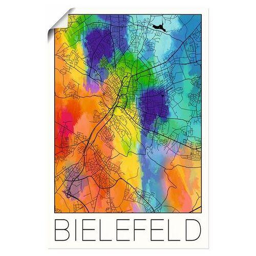 Artland artprint Retro kaart Bielefeld aquarel in vele afmetingen & productsoorten - artprint van aluminium / artprint voor buiten, artprint op linnen, poster, muursticker / wandfolie ook geschikt voor de badkamer (1 stuk)  - 20.99 - multicolor