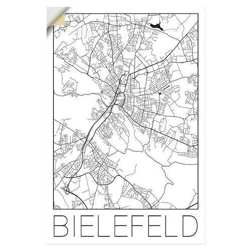 Artland artprint Retro kaart Bielefeld Duitsland in vele afmetingen & productsoorten - artprint van aluminium / artprint voor buiten, artprint op linnen, poster, muursticker / wandfolie ook geschikt voor de badkamer (1 stuk)  - 28.99 - zwart