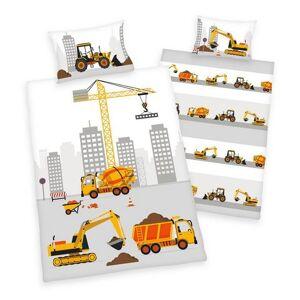 Herding baby-overtrekset Stad bouwplaats met bouwvoertuigen (2-delig)  - 24.49 - bruin