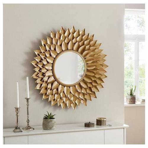 Leonique spiegel Sarai met bladgoud afwerking  - 159.99 - goud
