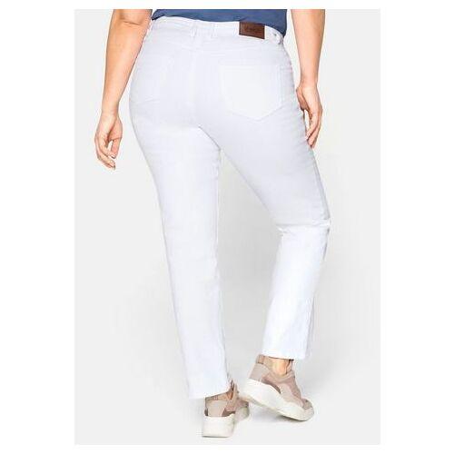 Sheego stretch jeans LANA met used effecten  - 49.99 - wit - Size: 40;42;44;46;48;50;52;54;56;58