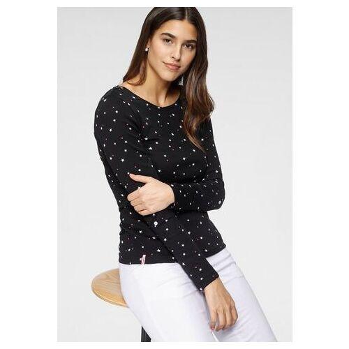 KangaROOS NU 20% KORTING: KangaROOS shirt met lange mouwen met leuke print van stippen, vogels en ankers all-over  - 34.99 - zwart - Size: Extra Small