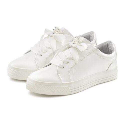Lascana sneakers met plateau en kralen in kroko-look  - 39.99 - wit - Size: 36;37;40;41;42;43