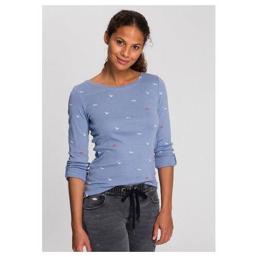 KangaROOS NU 20% KORTING: KangaROOS shirt met lange mouwen met leuke print van stippen, vogels en ankers all-over  - 34.99 - blauw - Size: Extra Small