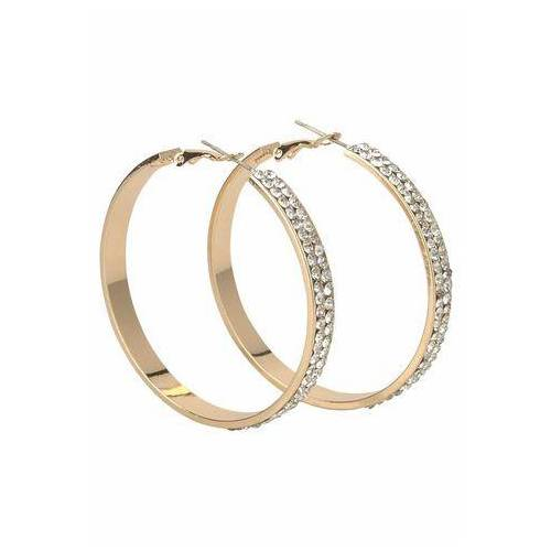 J.Jayz oorringen Breder model in glamoureus design, goudkleur met glassteentjes  - 16.99 - goud