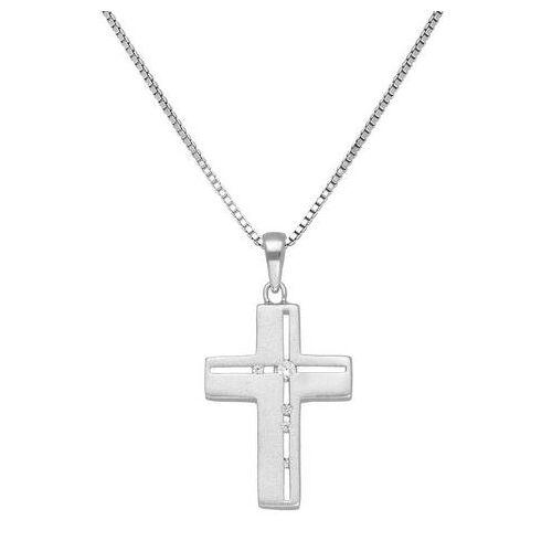 Firetti NU 20% KORTING: Firetti ketting met hanger Kruis, geloof, religieus, gesatineerd met zirkoon  - 32.95 - zilver