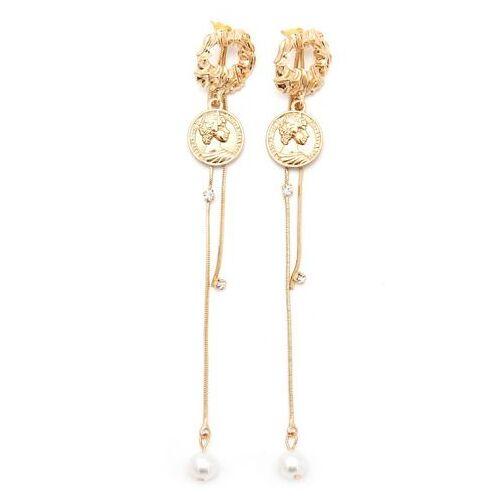 J.Jayz oorstekers Met munten, glamoureus, verguld met acrylkralen en glassteentjes  - 12.90 - goud