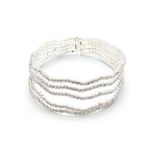 J.Jayz klemarmband Golven, glamoureus, meerrijig, zilverkleur met strassteentjes  - 26.12 - zilver