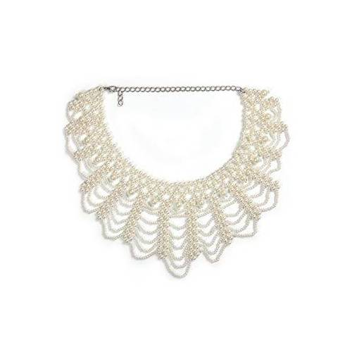 J.Jayz collier Glamoureus design gecombineerd met glanzende look met acrylkralen  - 15.90 - wit