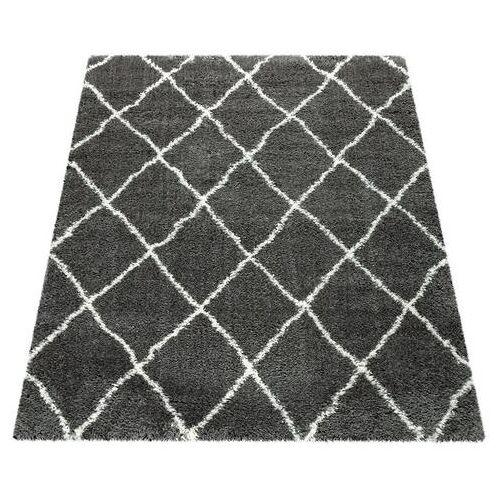 Paco Home hoogpolig vloerkleed Maghreb 075 Shaggy met hoge pool met ruitdesign, woonkamer  - 167.99 - grijs - Size: 160 cm x 230 cm x 50 mm