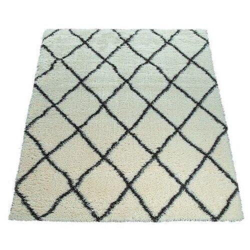 Paco Home hoogpolig vloerkleed Maghreb 075 Shaggy met hoge pool met ruitdesign, woonkamer  - 91.99 - beige - Size: 120 cm x 160 cm x 50 mm