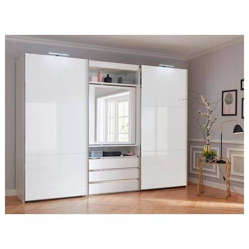 FRESH TO GO zweefdeurkast met draaibare spiegeldeur, buitendeuren met glas  - 1129.99 - wit - Size: 300 x 216 x 65 (b x h x d) cm , 2-deurs