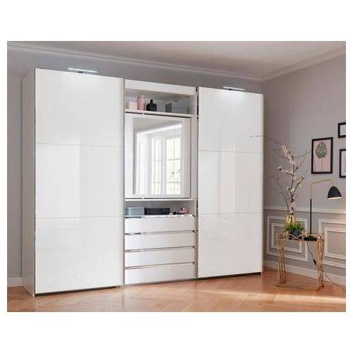 FRESH TO GO zweefdeurkast met draaibare spiegeldeur, buitendeuren met glas  - 1279.99 - grijs - Size: 300 x 236 x 65 (b x h x d) cm , 2-deurs