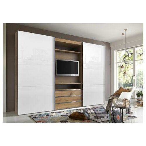 Fresh To Go zweefdeurkast met draaibaar tv-element, buitendeuren met glas  - 1079.99 - beige - Size: 300 x 216 x 65 (b x h x d) cm , 2-deurs