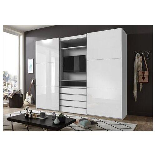 Fresh To Go zweefdeurkast met draaibaar tv-element, buitendeuren met glas  - 1189.99 - wit - Size: 300 x 236 x 65 (b x h x d) cm , 2-deurs