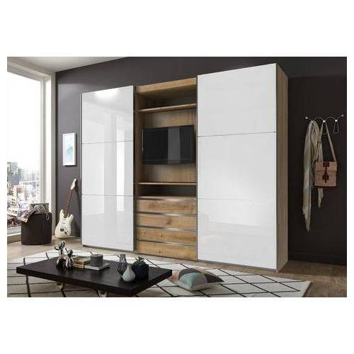 Fresh To Go zweefdeurkast met draaibaar tv-element, buitendeuren met glas  - 1189.99 - beige - Size: 300 x 236 x 65 (b x h x d) cm , 2-deurs