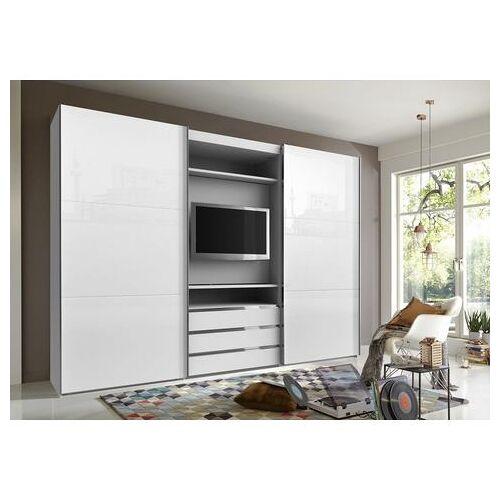 Fresh To Go zweefdeurkast met draaibaar tv-element, buitendeuren met glas  - 1079.99 - wit - Size: 300 x 216 x 65 (b x h x d) cm , 2-deurs