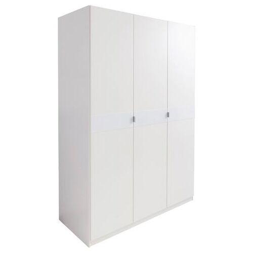 priess Garderobekast met glas-inlays  - 269.99 - wit - Size: 140 x 173 x 54 (b x h x d) cm , 3-deurs