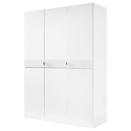 priess Garderobekast met glas-inlays  - 329.99 - wit - Size: 140 x 193 x 54 (b x h x d) cm , 3-deurs