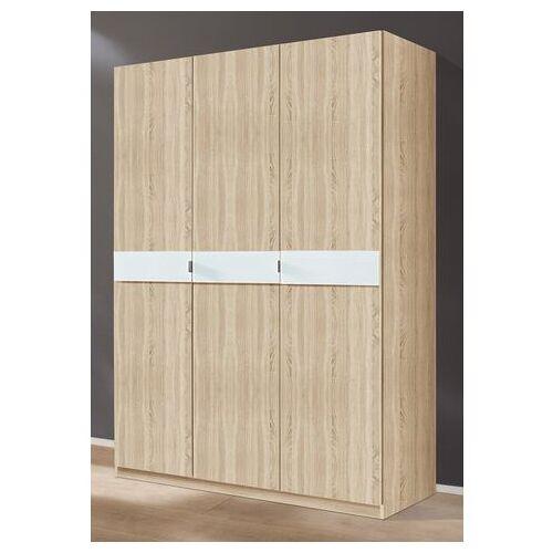 priess Garderobekast met glas-inlays  - 269.99 - beige - Size: 140 x 173 x 54 (b x h x d) cm , 3-deurs