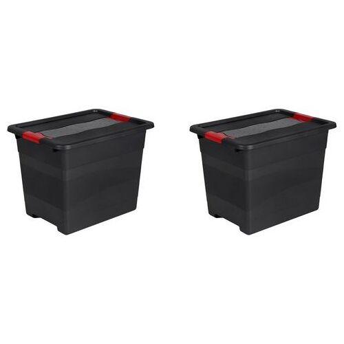 keeeper bak met deksel 39,5 x 39,5 x 30 cm, 24 liter, set van 2, »eckhart«  - 22.99 - zwart - Size: (LxBxH): 39,5 x 29,5 x 30 cm