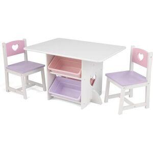 KidKraft® kinderzithoek Tafel met opbergboxen en 2 stoelen hartje (3-delig)  - 139.99 - wit