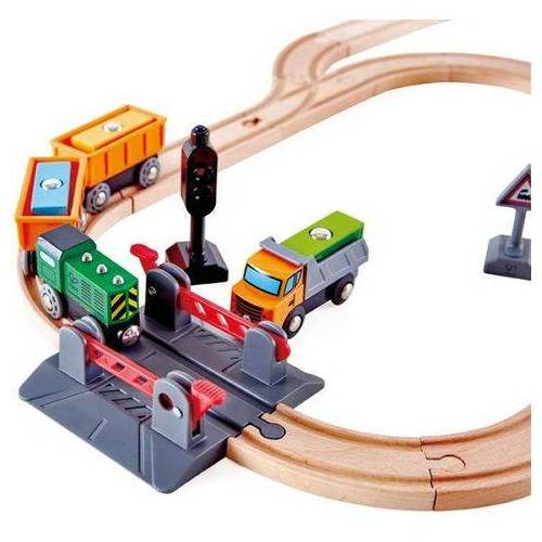 Hape railset Spoorwegovergang & kraanset houten  - 44.99 - beige
