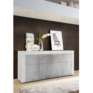 hoogglans wit dressoir met betonlook