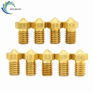 Kingroon 10 Pc V5 V6 E3D Nozzle 0.2 0.3 0.4 0.5 0.6 0.8 1.0 Mm 3D Printer Deel M6 Schroefdraad full Metal Voor 1.75 Mm Filament Extruder