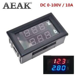 """Aeak Dc 0-100V 10A Digitale Voltmeter Ampèremeter Dual Display Spanning Detector Stroom Meter Panel Amp Volt Gauge 0.28 """"Rood Blauw Led"""