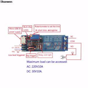 1 Pc 5 V-30 V Vertraging Relais Timer Module Trigger Vertraging Schakelaar Micro Usb Power Tool Us