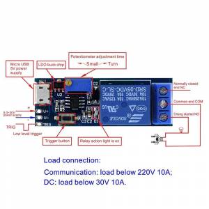 Smart Elektronica 5 V-30 V Micro USB Power Verstelbare Vertraging Relais Timer Module Trigger Vertraging Schakelaar