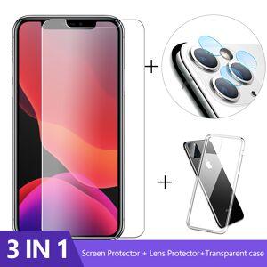 3-In-1 Case + Camera Glas Voor Iphone 11 Pro Max Screen Protector Lens Glas Op Iphone SE2 Beschermende Glas Iphone 2020